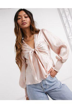 River Island Tie front blouse in hazelnut