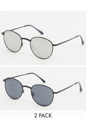 SVNX 2 pack rounded sunglasses in black with silver mirrored lens