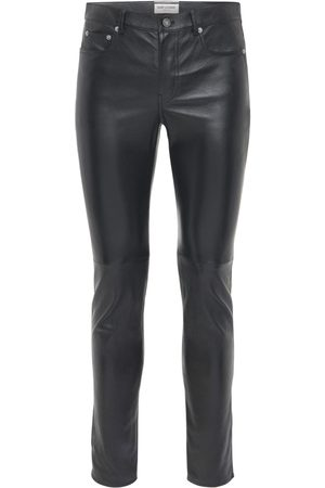 Saint Laurent Pantalones Skinny Fit De Piel 15.5cm