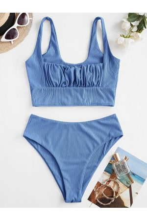 Zaful Mujer Tankinis - Square Ribbed Ruched Tankini Swimwear