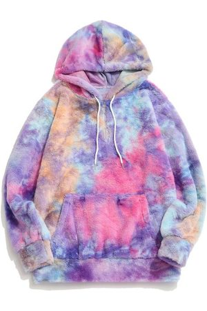 Zaful Tie Dye Faux Fur Ring Half Zipper Hoodie