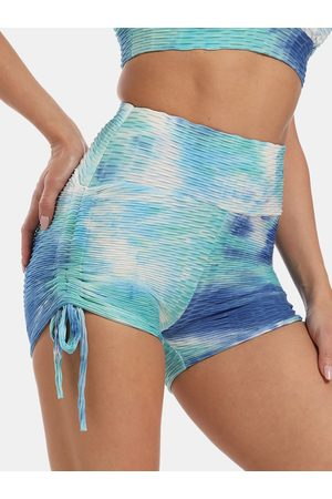 Newchic Mujer Tie Dye Jacquard Absorbe el sudor Transpirable Tie Side Sports Yoga Shorts