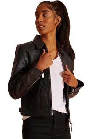 Superdry Mujer De piel - Chaqueta Down Town Leather XS Black