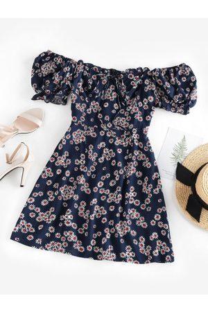 Zaful Daisy Floral Off Shoulder Frilled Dress