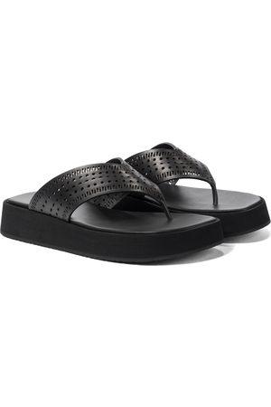 Alaïa Laser-cut leather thong sandals