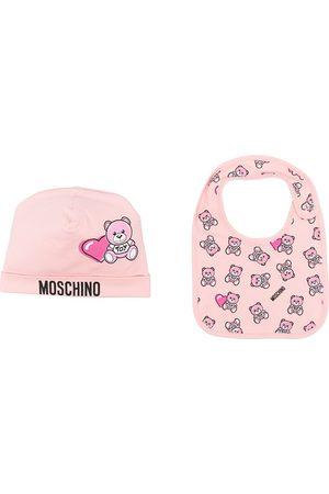 Moschino Gorros - Set de gorro y babero con motivo Teddy Bear