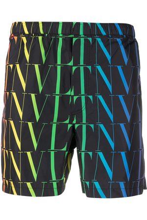 VALENTINO Hombre Shorts - Shorts de playa con logo VLTN