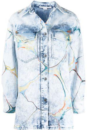 Stella McCartney Mujer De mezclilla - Sobrecamisa con estampado marmoleado