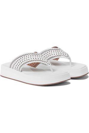 Alaïa Mujer De dedo - Laser-cut leather thong sandals