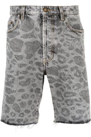 Saint Laurent Hombre De mezclilla - Shorts de mezclilla con estampado de leopardo