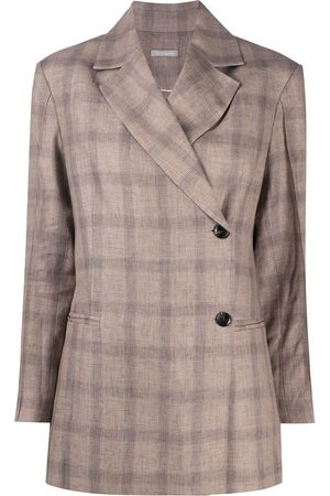 12 STOREEZ Mujer Sacos - Blazer asimétrico a cuadros