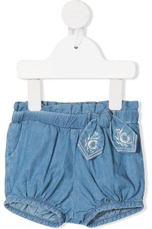 Chloé De mezclilla - Shorts de mezclilla con detalle de moño