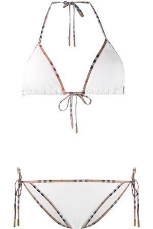 Burberry Mujer Bikinis - Bikini con ribete con motivo Vintage Check