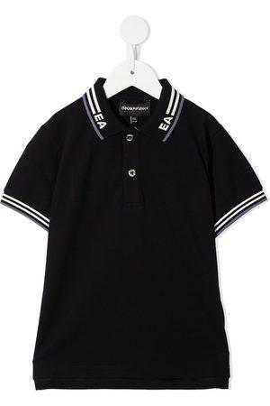 Emporio Armani Playera tipo polo con logo de intarsia