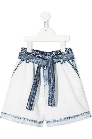 Msgm Shorts de mezclilla con lazo en la cintura