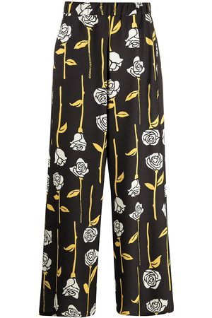 Opening Ceremony ALL OVER ROSES WIDE LEG PANT BLACK PAPYR
