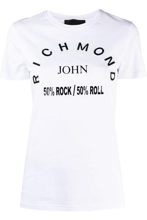 John Richmond Mujer Playeras - Logo patch slogan T-shirt