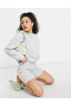 ASOS Mujer Leggings y treggings - Tracksuit sweatshirt / ribbed legging short in grey