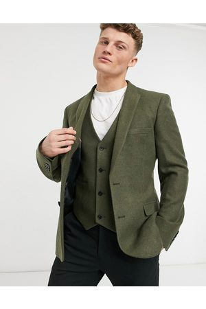 ASOS Skinny wool mix suit jacket in khaki twill