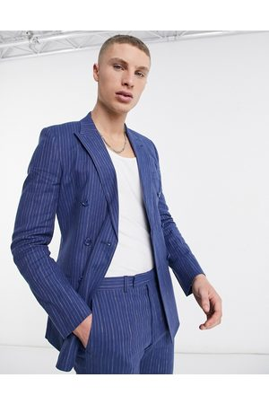 ASOS Super skinny double breasted cotton linen pinstripe suit jacket in blue