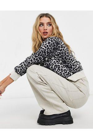 QED London Jumper in monochrome leopard