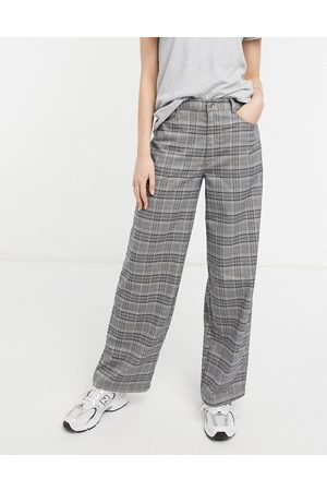 ASOS High rise 'relaxed' dad trouser in blue check