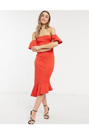 True Violet Bandeau midi dress with pephem in red
