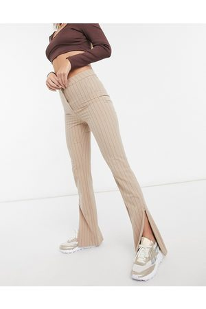 Weekday Alecia stright leg trousers with split front in pinstripe