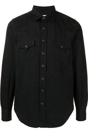 Saint Laurent Camisa de mezclilla estilo western con cuello de pico