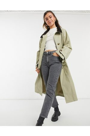 ASOS Oversized trench coat with cord collar in stone