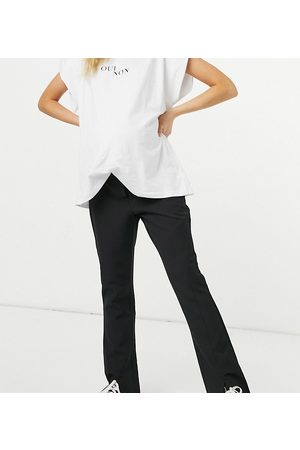 Pieces Maternity Split front trousers in black