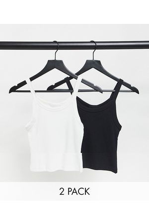 Weekday Kristy organic cotton 2 pack cami vests in black and white