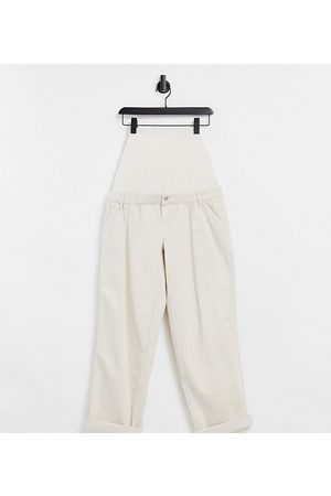 ASOS ASOS DESIGN Maternity slouchy chino trouser in cream with over the bump band