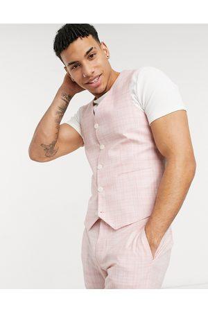 ASOS Wedding skinny suit waistcoat in pastel pink crosshatch