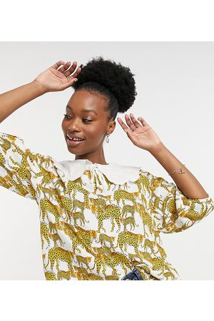 Native Youth Balloon sleeve blouse with lace collar in leopard print