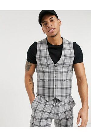 ASOS Super skinny suit waistcoat in grey tartan check