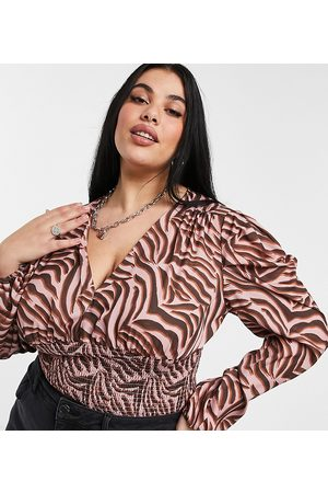 Chi Chi London Polina long sleeved top In brown