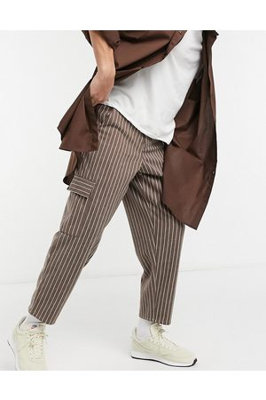 ASOS Balloon fit cropped trousers in brown stripe