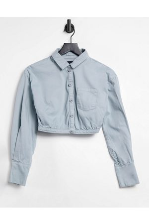 ASOS Soft denim wrap shirt in grey co