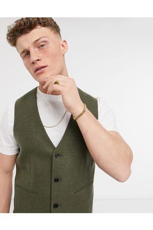 ASOS Skinny wool mix suit waistcoat in khaki twill