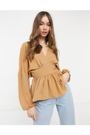 ASOS Long sleeve wrap front top in camel