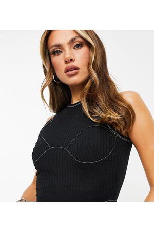 Missyempire Exclusive contrast stitch corset top in black