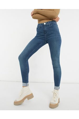 River Island Molly turnup skinny jeans in mid tint blue
