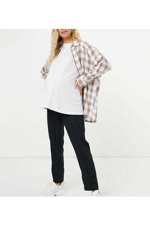 ASOS ASOS DESIGN Maternity linen cigarette trouser in black