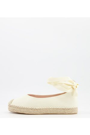 Glamorous Wide Fit Ankle tie espadrilles in natural