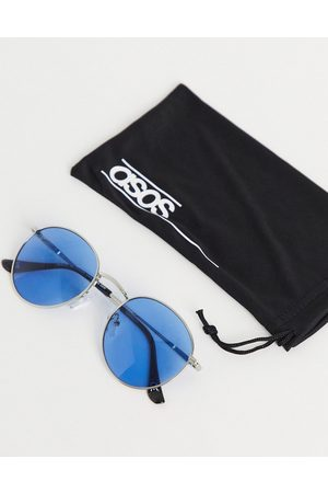 ASOS Round sunglasses in silver metal with blue lens