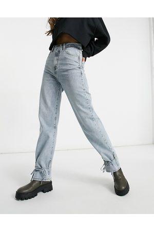 Missyempire Tie detail denim jean in washed blue