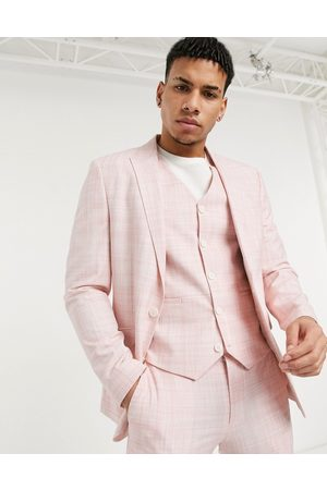 ASOS Wedding skinny suit jacket in pastel pink crosshatch