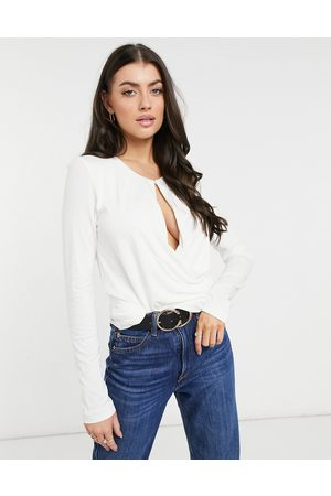 French Connection Draping wrapped long sleeve top in cream