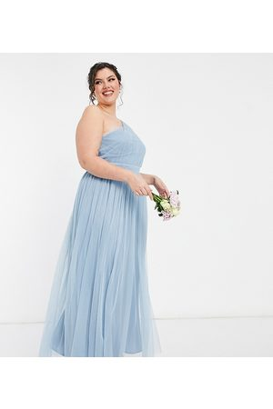 ANAYA Anaya With Love Plus Bridesmaid tulle one shoulder maxi dress in soft blue